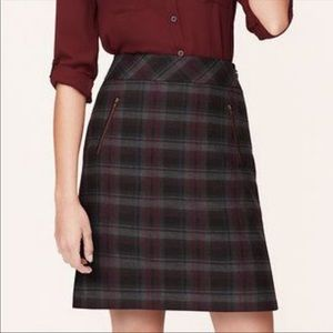 Ann Taylor Loft Curvy Fit Plaid Scuba Shift Skirt